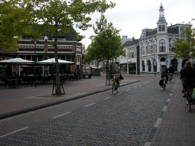 Two-way cycling in the centre of Assen, on a one-way road for motor vehicles