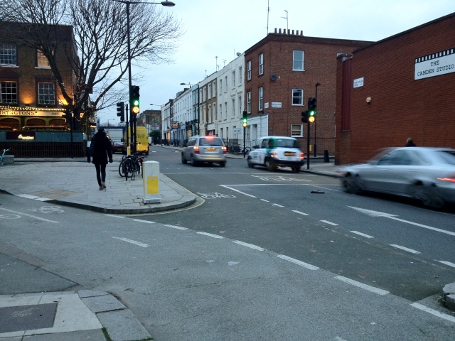 Cycle track currently heading away from Royal College Street at Georgiana Street junction