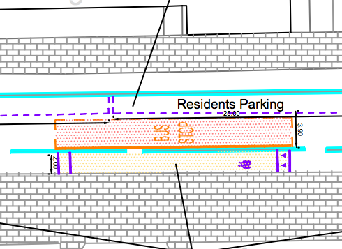 The proposed bus stop, sandwiched between the track, and parking. No way through when bus is stopped