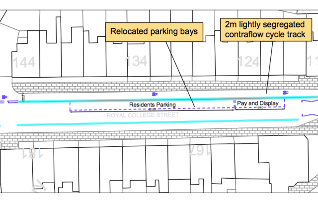 The proposed new arrangement, just south of the Baynes Street junction