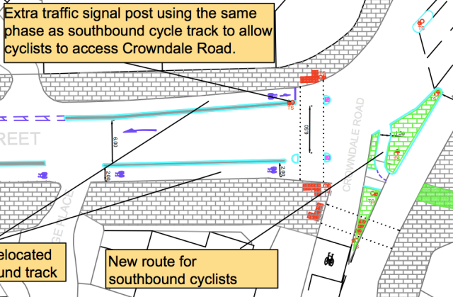 'New route for southbound cyclists' - but does it have to be so wiggly and tight?