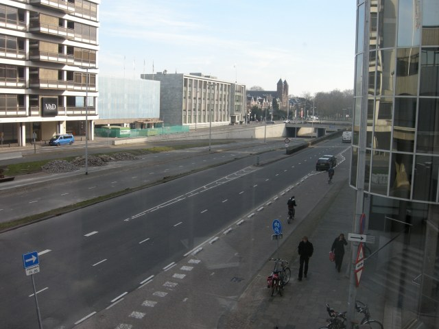 An urban motorway in Utrecht in 2011, which is currently being removed and replaced by the canal that originally existed here, a bus route, and cycle tracks