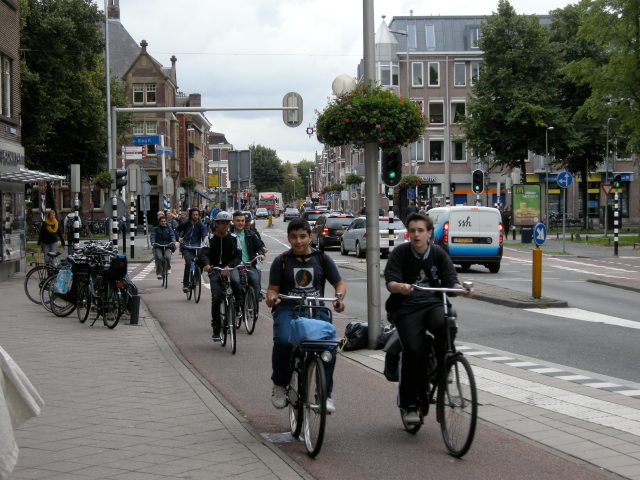 Teenagers on a cycle track