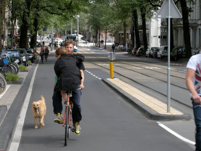 Pratting about on a street in Amsterdam - possible because of  Sustainable Safety, which has removed motor traffic here