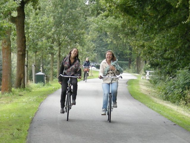 Teenage girls heading out of the city
