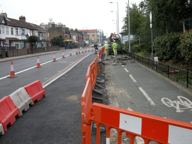 The cycle track is disappearing.
