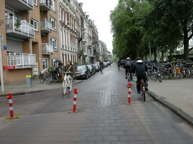 Amsterdam street with measures to remove motor traffic. No physical separation required