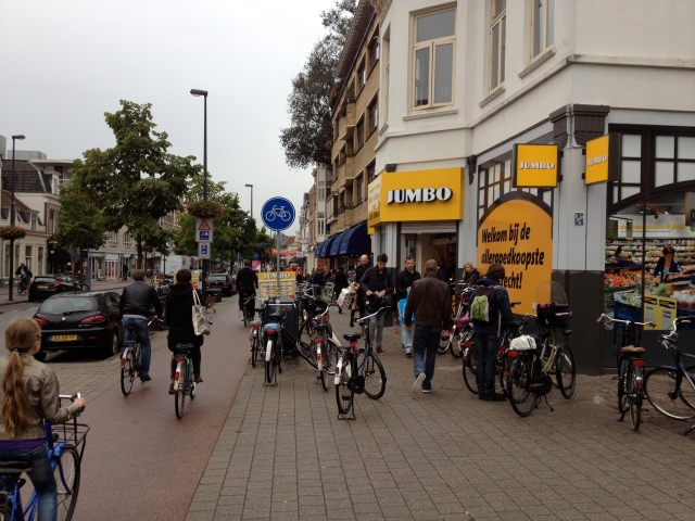 Supermarket shopping in the rush hour in Utrecht. Nearly everyone was coming and going by bike - because it's just as easy as walking