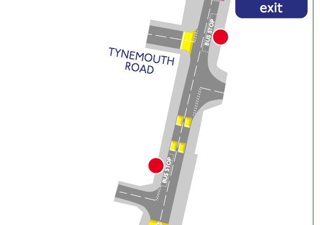 What the section of road photographed above will look like. Wide pavements alongside a two-way road