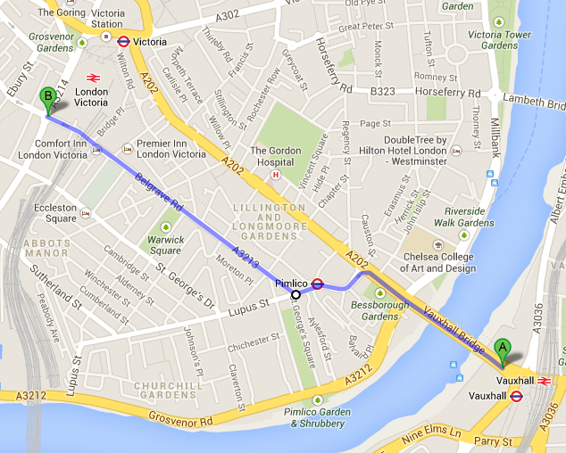 The new proposed CS5 route, diverting onto Belgrave Road