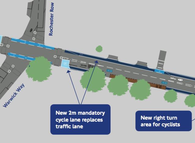 Part of the original CS5 plans for Vauxhall Bridge Road