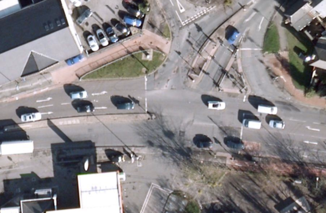 From above. You can smell the convenience of waiting three times, while motor vehicles progress straight through.
