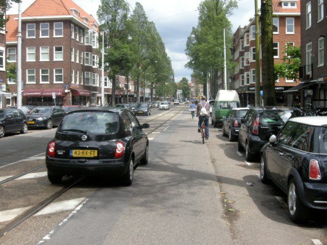 Heemstedestraat, Amsterdam. Another busy main road, with nothing for cycling