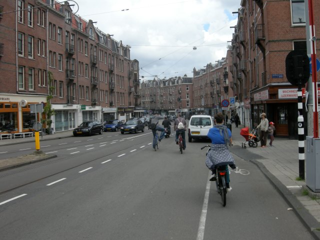 Zeilstraat, Amsterdam. A cycle lane ends just as you approach parked cars
