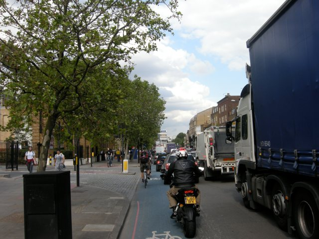Mile End Road. Hostile and unpleasant to cycle on. Fine for walking