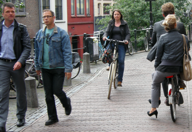 Cycling on the Oudegracht in Utrecht