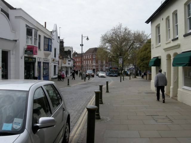 Horsham's Carfax, looking south. Currently no cycling in this direction