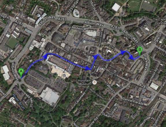 The route through the town centre