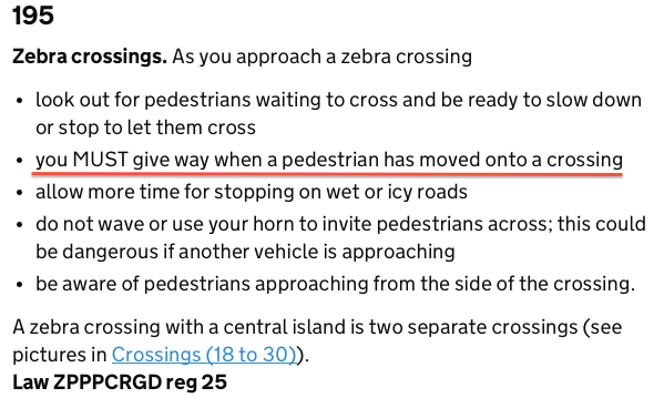 Relevant excerpt from the Highway Code