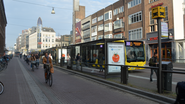 Cycle corridor, bus corridor, Utrecht city centre