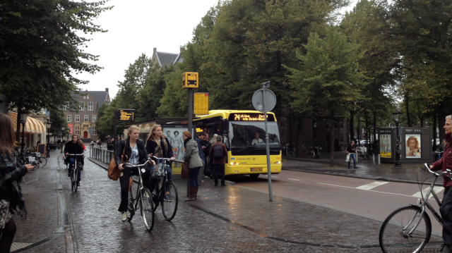 Cycling and public transport co-existing; a genuine choice between the two.