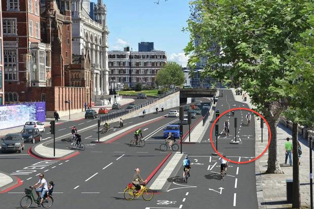 Do we need stop lines, and the expense of signals here, for simple bicycle movements? No.
