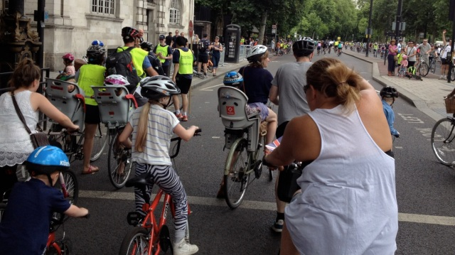 Families cycling with young children on the Embankment