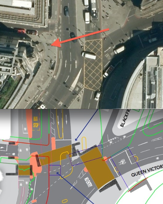No crossing here at present (top). There will be one with the Superhighway.
