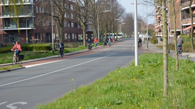 Cycle lanes in Gouda, that become protected tracks on the approach to a large junction.