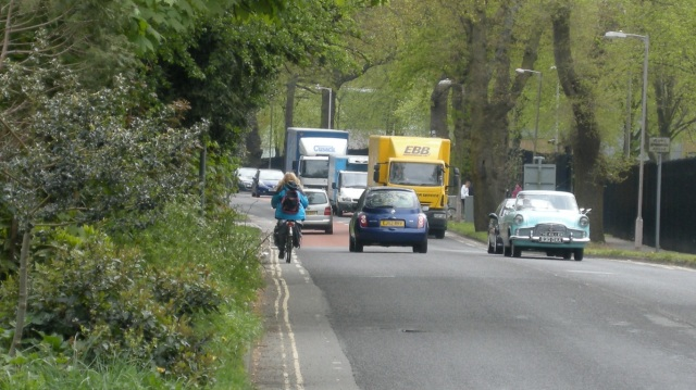 A 'cycle lane', included in Horsham's network map. This would fail objective standards for inclusion.