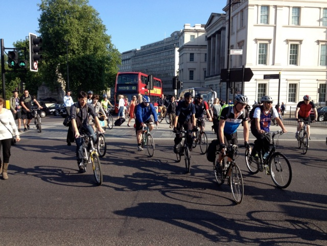 Toucan crossing, Hyde Park. Note how cyclists and pedestrians mingle with each other, despite their different speeds and requirements.
