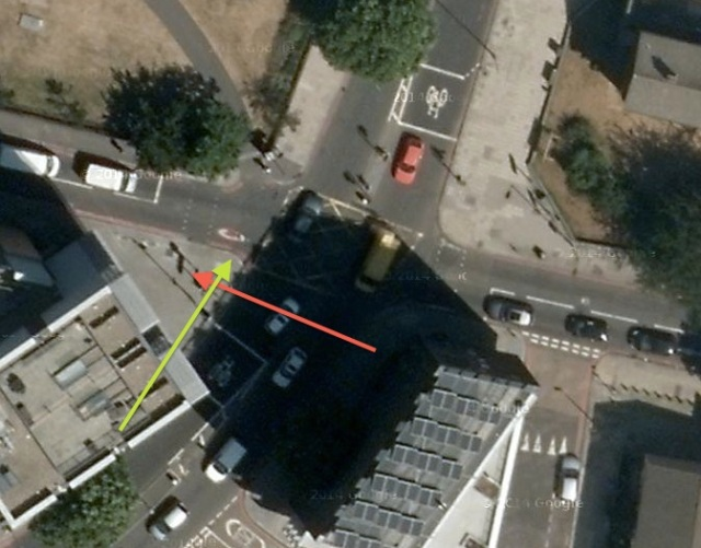 How this incident unfolded; pedestrian crossing the road (red arrow) meets someone cycling (green arrow)