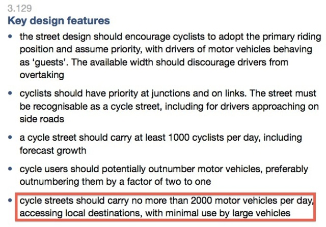 Good recommendations. So why not apply this rigour to other streets and roads?