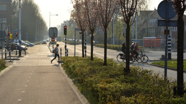 A main road in Wageningen.