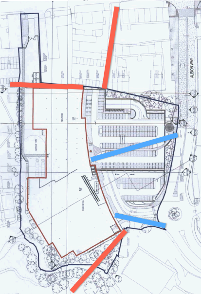 The three missing connections described here, in red - with the only existing access (from the major road) marked in blue