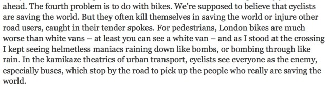 Andrew O'Hagan on London cycling