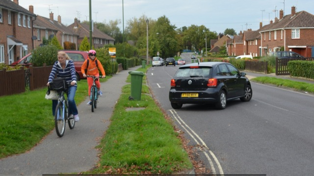 Blackbridge Lane - part of this 'East-West' route where you are expected to cycle on the carriageway. Not many people want to.
