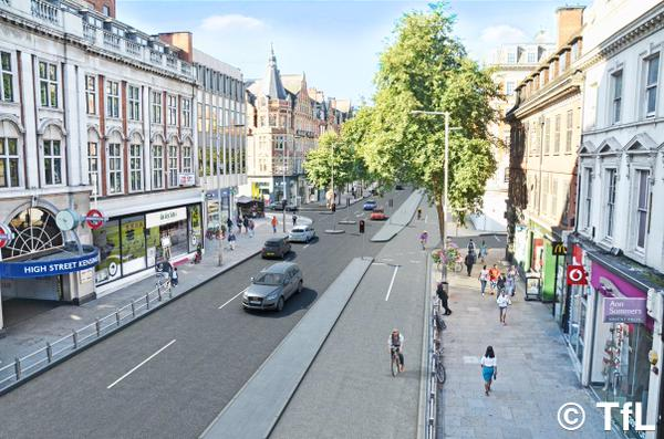 A TfL-produced visualisation of what Kensington High Street could have looked like.