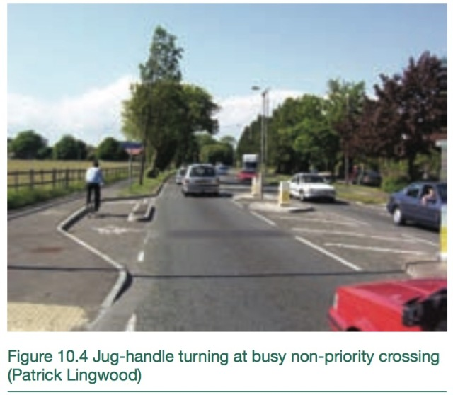The 'jug handle' turn, as shown in the DfT's LTN 2/08, Cycle Infrastructure Design