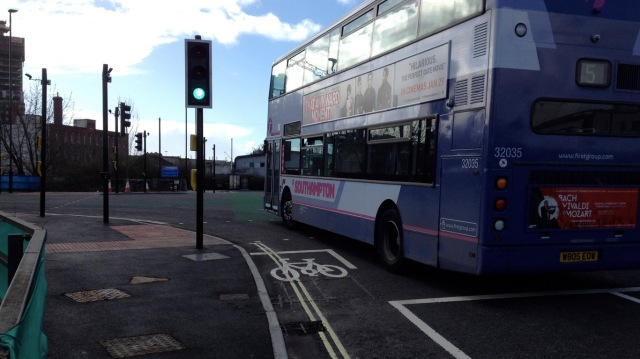 Someone in that cycle lane could be going ahead - they have a green signal at exactly the same time as the bus.