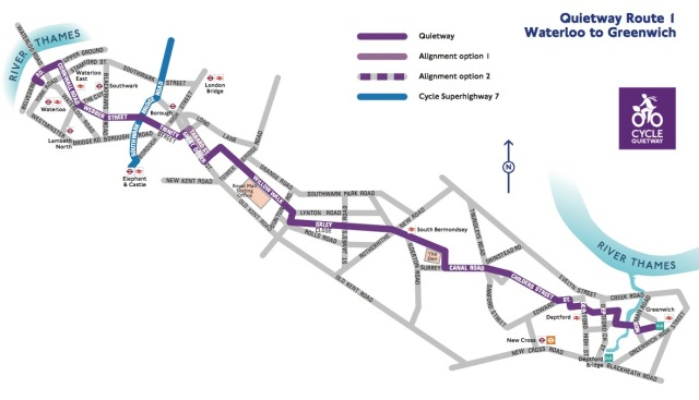 Quietway 1 route TfL
