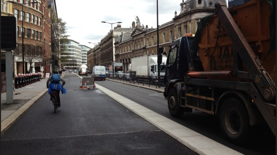 A structural approach to reducing the danger posed by HGVs to people cycling. Built this year. In London.