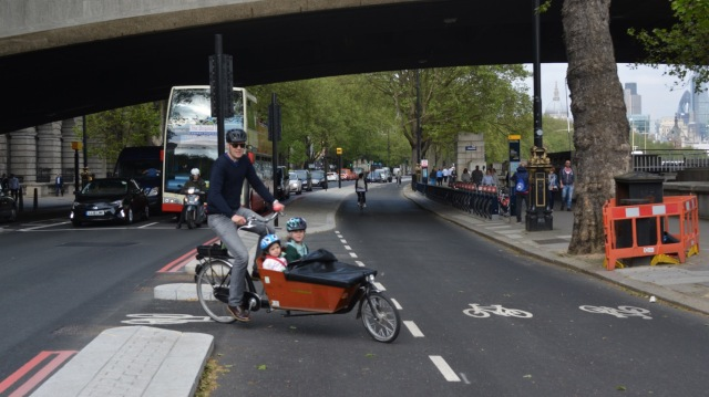 Try to imagine someone cycling their kids along the Embankment in a lane of motor traffic, alongside parking bays