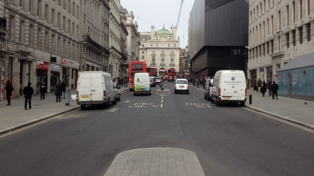 Midday on Regents Street. While cycling might become more visible on these kinds of streets at peak times, it is essentially completely absent during the day