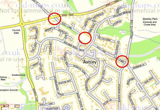 The present-day layout. Cull Lane has been 'severed' in three places, indicated by the red circles