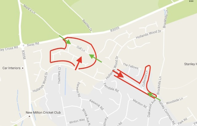 The outline of the two Cull Lane cul-de-sacs in red, with the sole motor vehicle entry point indicated by the red arrows.