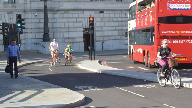 The junction of Victoria Embankment and Blackfriars in London. Signal separation means little or no risk of left hooks; safe enough for young children.
