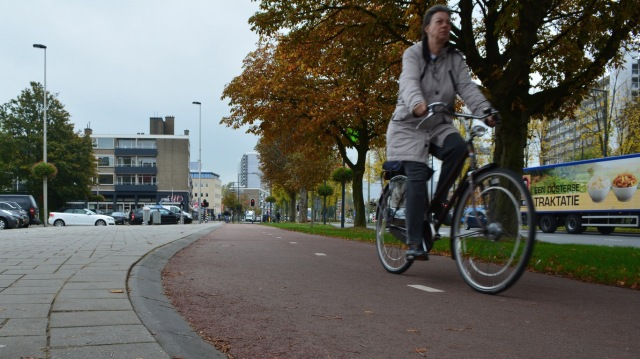 New cycle infrastructure in the city of Delft, with a forgiving, essentially crash-proof kerb