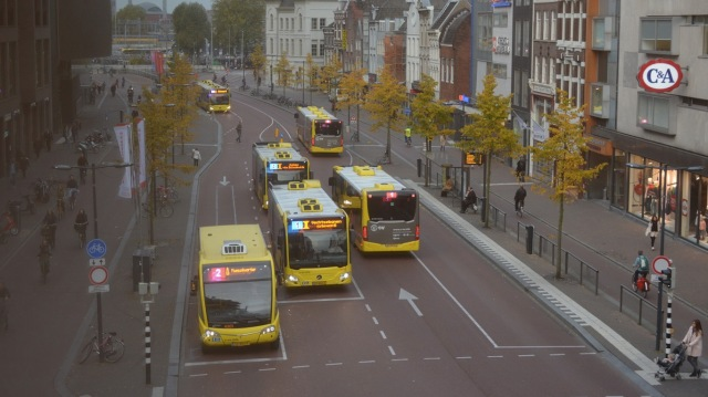 Road space reorganised. This streets carries around 60,000 people a day, cycling and on public transport.