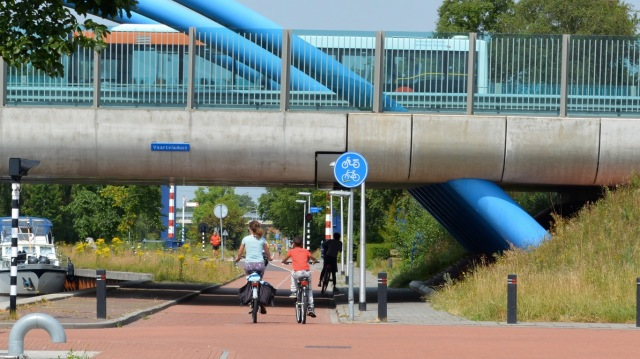 Grade separation in the form of an underbridge in the Dutch city of Assen.
